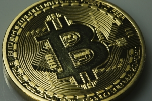 Picture of a virtual coin- bitcoin