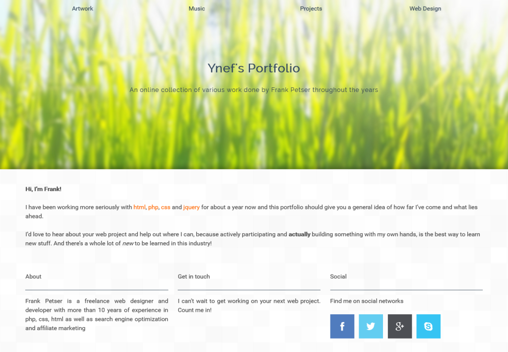 Screenshot of ynefs portfolio