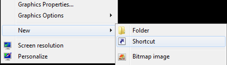 right click on desktop new shortcut