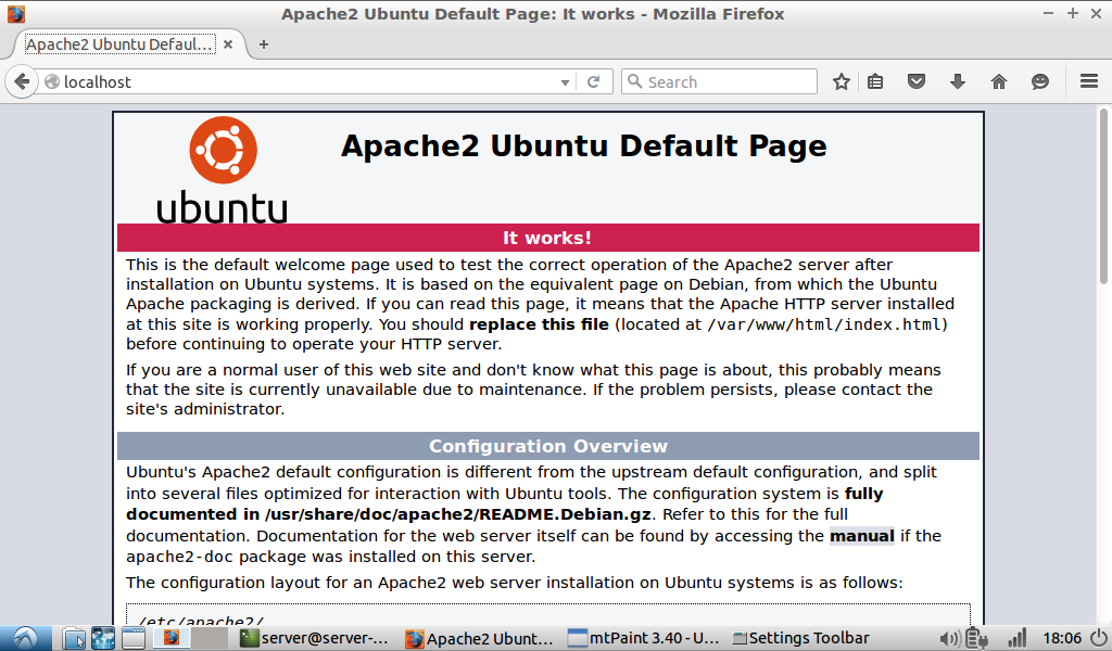 Default Apache2 web server html page