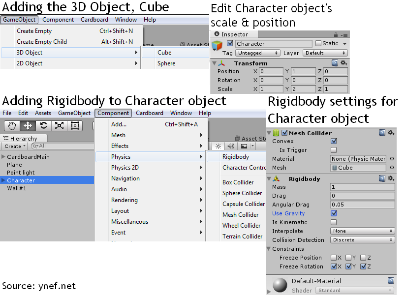 Adding the Character object and setting it up for virtual reality game