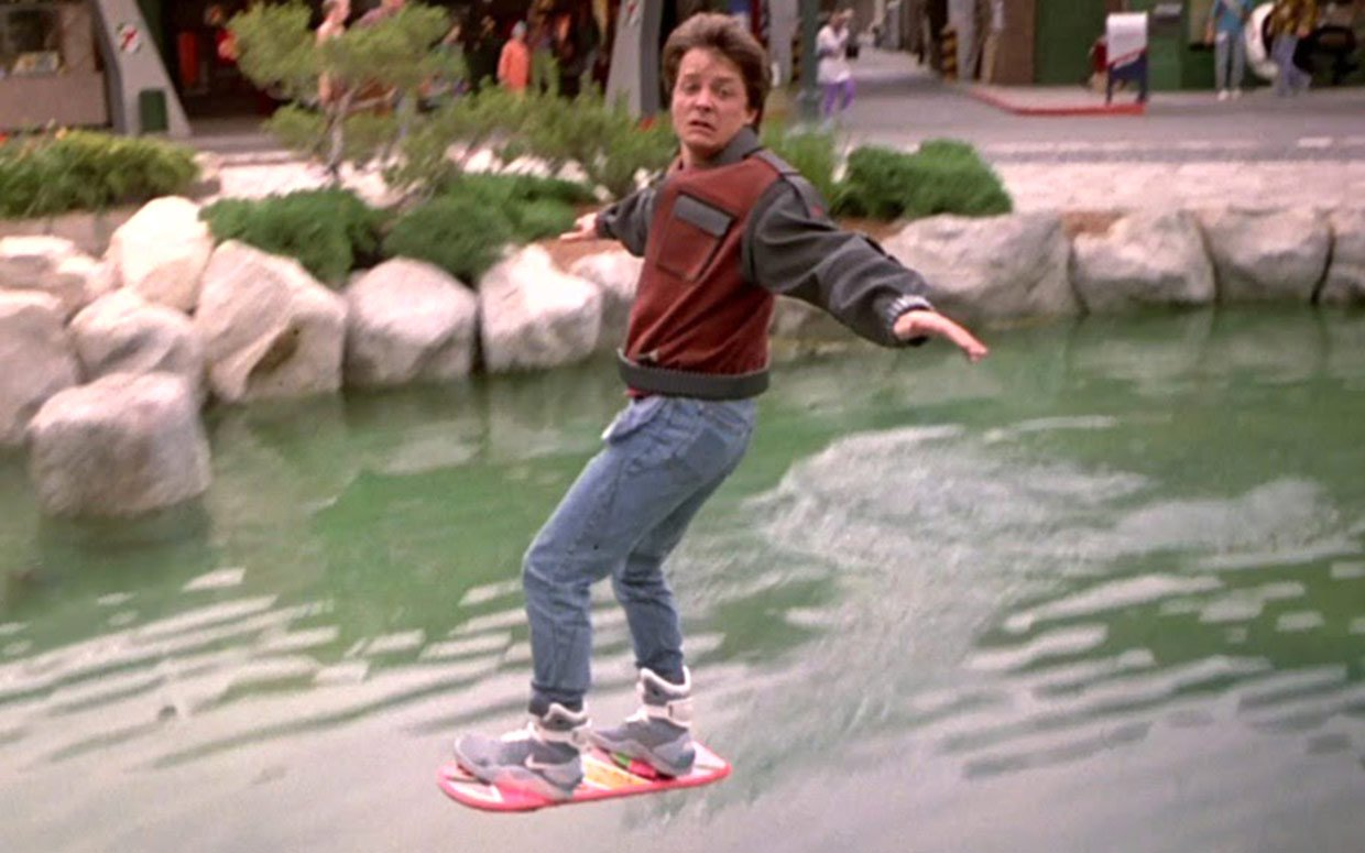 Marty MCFLY hovering on hoverboard on water